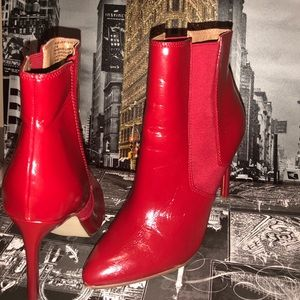 Steve Madden Red Leather Pointy Toe Ankle Boots